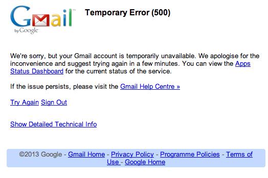 GMail Google Mail Fehler 500