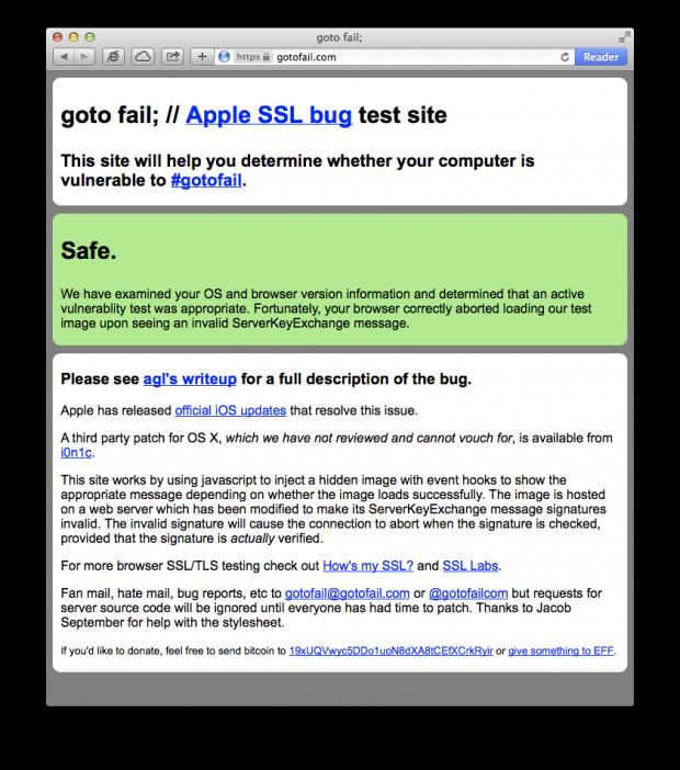Gotofail - Apple SSL Bug (Mavericks)